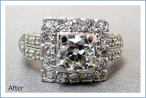 Antique diamond engagement ring after restoration