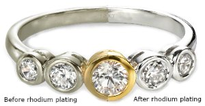 White gold ring without rhodium and with rhodium plating