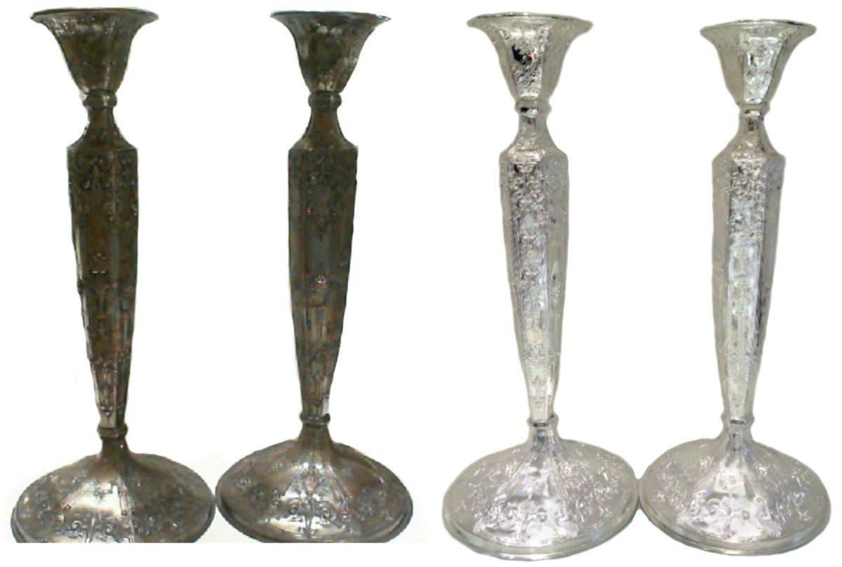 Silver plated antique candlesticks before and after