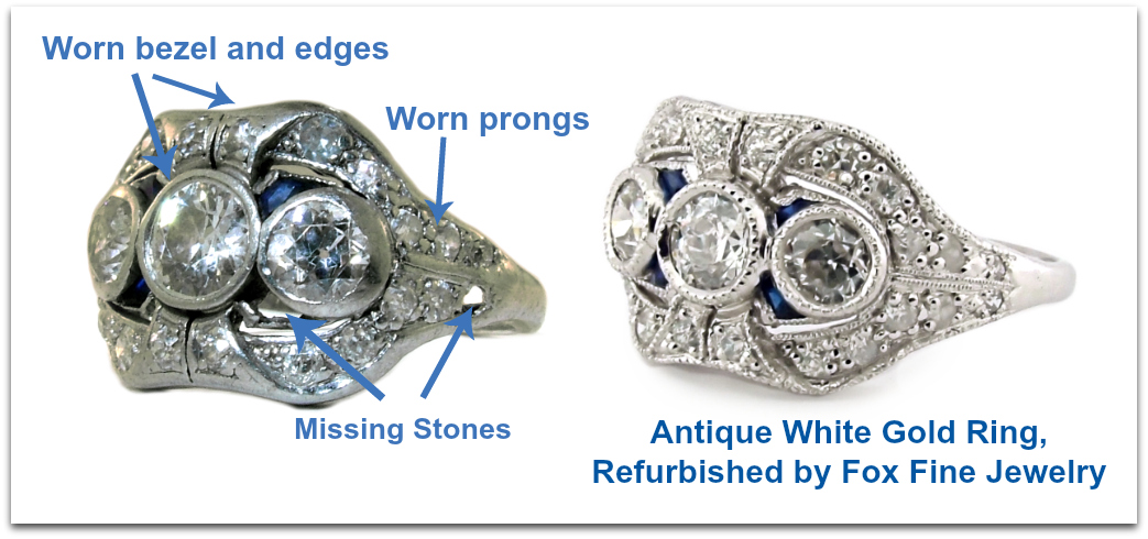 Platinum and sapphire antique ring refurbished