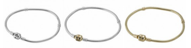 Classic Pandora Bracelets in Sterling Silver, with 14k gold clasp, and solid 14k gold