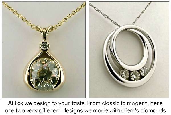 Custom diamond pendants made from customer's old diamonds