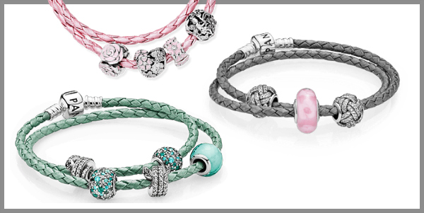 Pandora leather bracelets in pink, grey and mint green