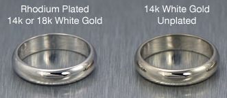 Plated white gold ring versus unplated white gold ring
