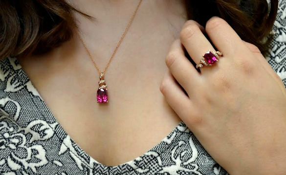 Rose gold rubelite ring and pendant