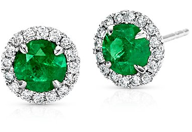 Emerald-earrings-with-diamond-halo