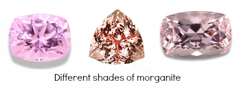 different shades of morganite gem