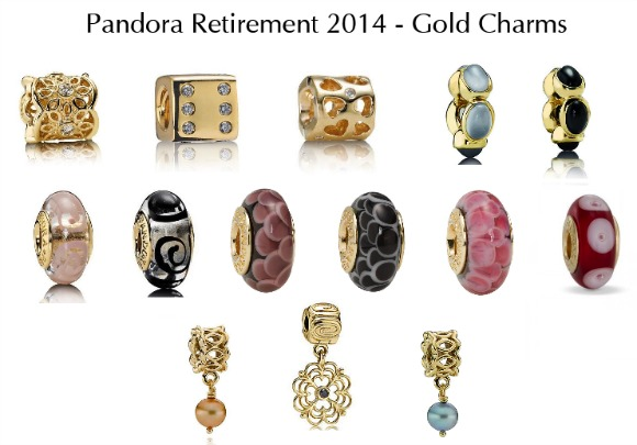 2014 Pandora Retired Charms--Gold and Murano Glass