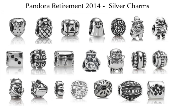2014 Pandora Retired Charms-Sterling silver