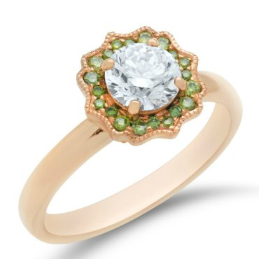 Custom green diamond and white diamond floral halo ring