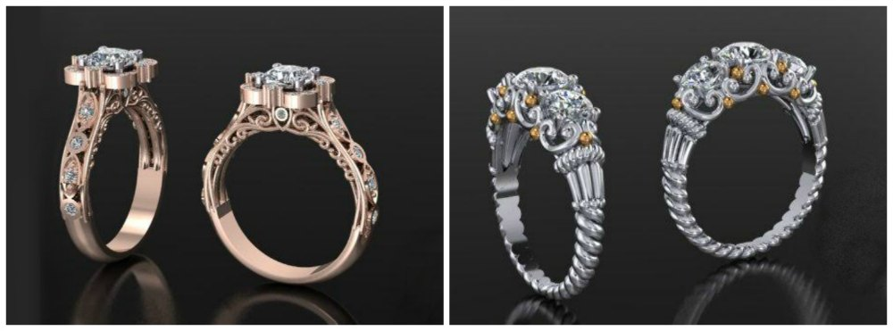 Diamond engagement rings renders