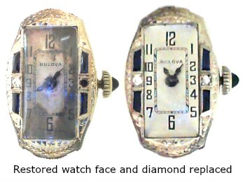 Bulova watch face restoration before and after.