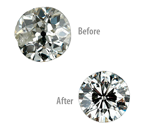 Diamond cutting before and after picture