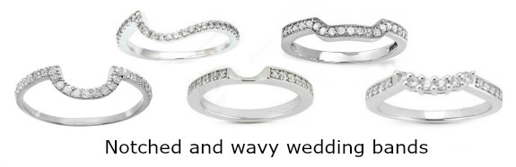 Curved and notched Diamond wedding bands