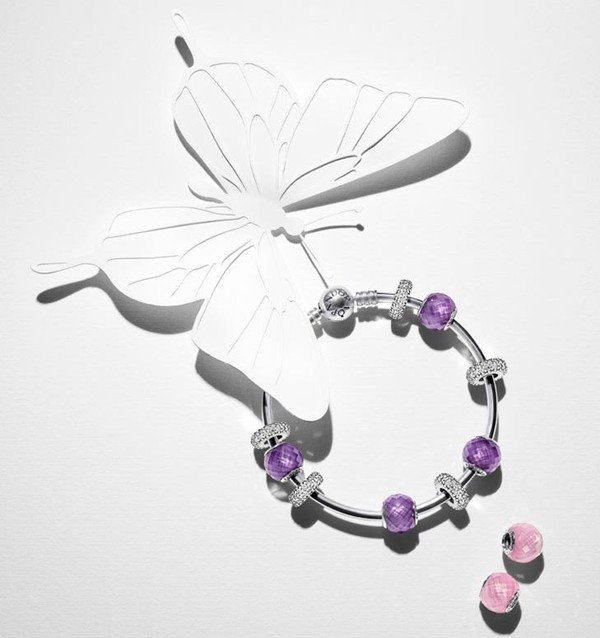 Pandora Spring 2015 Charms - Bangle Bracelet with Petite Facets Glass