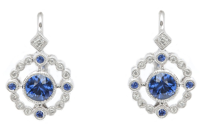 blue sapphire earrings diamond earrings