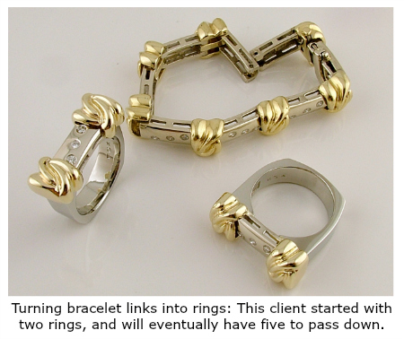 Inherited estate bracelet made into rings