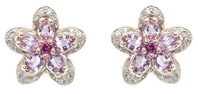 pink sapphire earrings diamond earrings